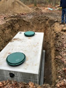Grenco Excavation installs a new septic tank.