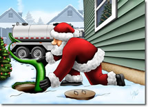 Santa pumps out a septic system to call attention to Grenco Excavation latest blog